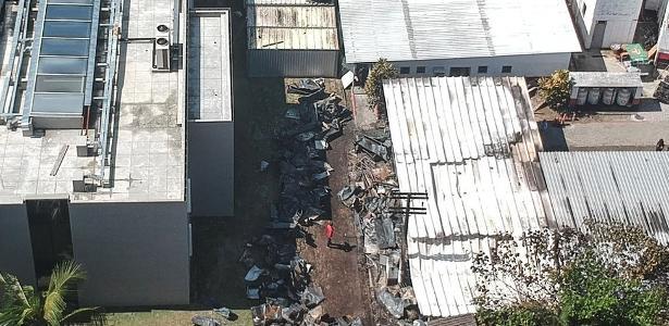 Imagem aérea do CT do Flamengo após incêndio